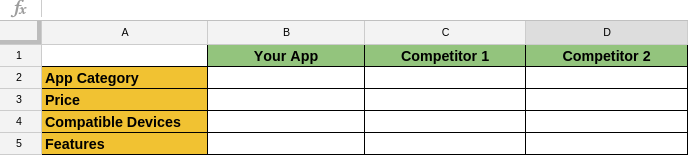 excel sheet for competitor comparison