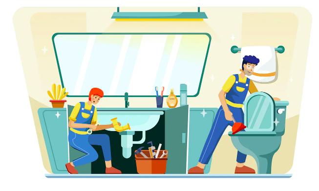 plumber on work